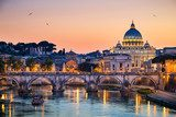 Night view of the Basilica St Peter in Rome, Italy  Architektura Plakat