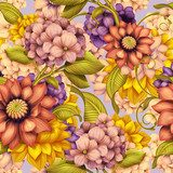 fall floral seamless pattern, vintage background illustration  Sypialnia Plakat