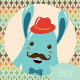 Hipster Retro Monster Card Illustration, Geometric Background  Pokój dziecka Plakat