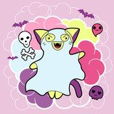 Vector kawaii illustration Halloween cat and creatures.  Pokój dziecka Plakat