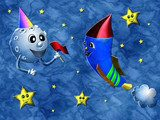 Rocket party relief painting on generated marble texture backgro  Plakaty do Pokoju dziecka Plakat