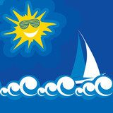 vector illustration of blue sea summer sun  Plakaty do Pokoju dziecka Plakat
