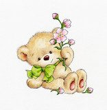 Cute Teddy bear with flowers  Plakaty do Pokoju dziecka Plakat