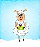 crazy sheep with present  Plakaty do Pokoju dziecka Plakat