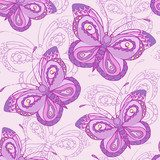 Seamless pattern with butterflies. Colorful background.  Fototapety do Pokoju Dziewczynki Fototapeta