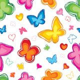 Lovely butterfly seamless pattern. Abstract white background.  Fototapety do Pokoju Dziewczynki Fototapeta