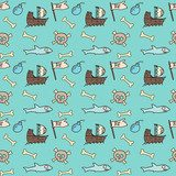 Seamless Pattern of Pirate Items. skull and bones, ship...  Fototapety do Pokoju Chłopca Fototapeta