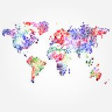 World Map with colored dots of different sizes  Mapa Świata Fototapeta