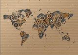 vector World map  Brown Cardboard  Mapa Świata Fototapeta