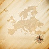 Europe map, wooden design background, vector illustration  Mapa Świata Fototapeta
