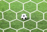 football on green grass in front of the net  Stadion Fototapeta