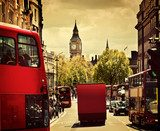 Busy street of London, England, the UK. Red buses, Big Ben  Miasta Fototapeta