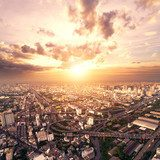 bird view of urban cityscape at sunset  Fototapety Miasta Fototapeta