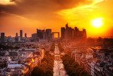 La Defense and Champs-Elysees at sunset in Paris, France.  Fototapety Miasta Fototapeta