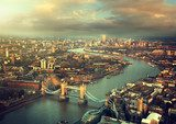 London aerial view with  Tower Bridge in sunset time  Miasta Fototapeta