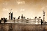 Vintage view of London, England.  Fototapety Sepia Fototapeta