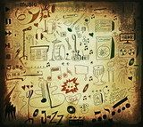 Doodle music background, hand drawn color grunge design elements  Fototapety Sepia Fototapeta