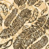 Retro seamless pattern with feathers  Sepia Fototapeta
