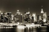 Manhattan West side at night  Sepia Fototapeta