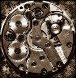 Close up view of vintage clock's gears  Fototapety Sepia Fototapeta