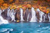 Colorful Hraunfossar Waterfall in Iceland  Fototapety Wodospad Fototapeta