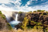 The Victoria falls with dramatic sky  Wodospad Fototapeta