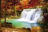 Beautiful waterfall in autumn forest  Fototapety Wodospad Fototapeta