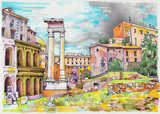 original marker painting of Rome Italy cityscape  Drawn Sketch Fototapeta
