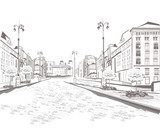 Series of street views in the old city, sketch  Drawn Sketch Fototapeta