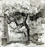 Tree near ruins  Drawn Sketch Fototapeta