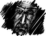 old man face in darkness  Drawn Sketch Fototapeta