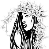 Girl with flower hair  Drawn Sketch Fototapeta