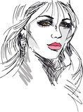 Sketch of beautiful woman face. Vector illustration  Drawn Sketch Fototapeta