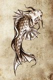 Sketch of tattoo art, japanese goldfish  Drawn Sketch Fototapeta