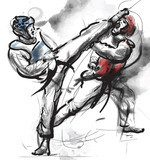 TaeKwon-Do. Hand drawn (calligraphic and grunge) vector  Drawn Sketch Fototapeta