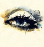 Woman eye . Hand painted fashion illustration  Drawn Sketch Fototapeta