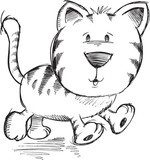 Cute Doodle Sketch Cat Vector Illustration Art  Drawn Sketch Fototapeta