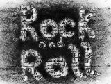 Rock and roll grunge music word backgrounds and texture  Fototapety do Pokoju Nastolatka Fototapeta