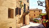 Old Buildings In Typical Medieval Italian City - illustration  Uliczki Fototapeta