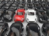 Stand out red and white cars among many black cars  Pojazdy Obraz
