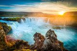 Iceland, Godafoss at sunset, beautiful waterfall, long exposure  Obrazy do Łazienki Obraz