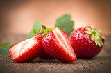 Fresh Strawberry close up on the wood  Owoce Obraz