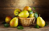 still life with fresh pears  Owoce Obraz