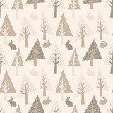 Fir-trees seamless pattern. Christmas background  Styl skandynawski Fototapeta