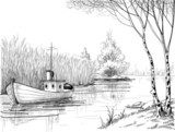 Nature sketch, boat on river or delta  Styl skandynawski Fototapeta