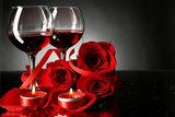 Composition with red wine in glasses, red rose and decorative  Obrazy do Kuchni  Obraz