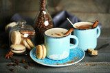 Beautiful composition with tasty cappuccino on wooden table  Obrazy do Kuchni  Obraz