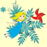 Flying little girl and magical red bird  Obrazy do Pokoju Dziecka Obraz