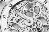 black and white close view of watch mechanism  Biuro Plakat