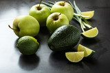 Organic Raw Green avocado, apples and limes  Owoce Obraz